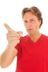 Portrait adult man giving warning