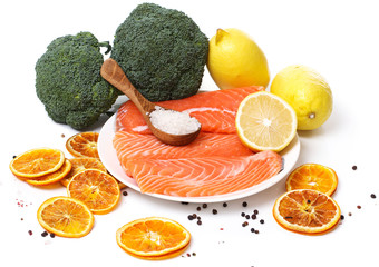 Sliced, raw salmon