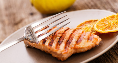 Slice of grilled salmon