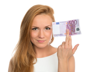young woman holding up cash money five hundred euro