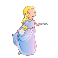 Cartoon girl wearing classic long dress