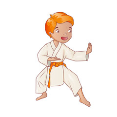 Little boy wearing kimono practicing karate
