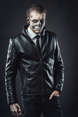 tough guy leather jacket with the make-up skull