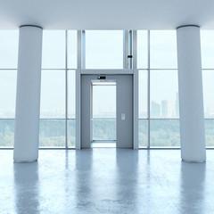 Transparent elevator and columns