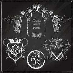 Heraldic emblems set