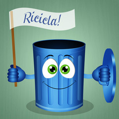 Funny blue garbage bin for recycling