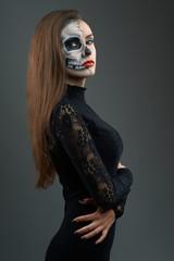beautiful woman with makeup skeleton