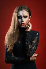 beautiful woman with makeup skeleton