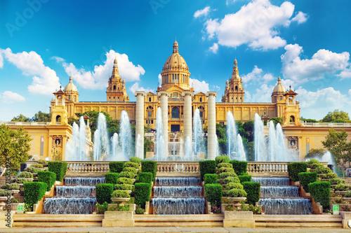Zdjęcia na płótnie, fototapety na wymiar, obrazy na ścianę : National Museum in Barcelona,Placa De Espanya,Spain.