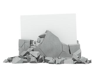 Broken concrete with paper inside