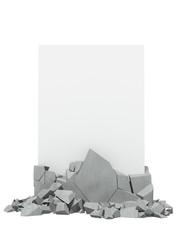 Broken concrete with paper