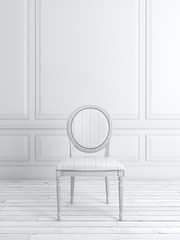 White classical interior with chair