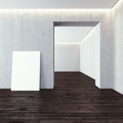 White blank frame in modern gallery