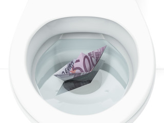White toilet with boat from euro bill