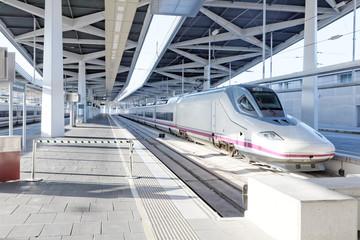 Modern high speed train at the railways stantion.