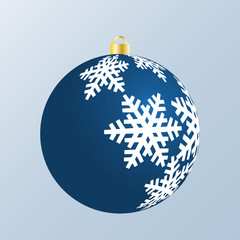 Dark blue Christmas bulb with white pattern