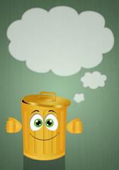 Funny yellow garbage bin