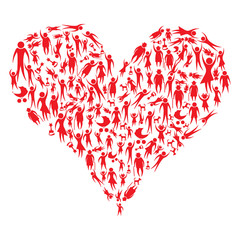 Group of red people and pets forming a big heart