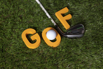 Golf writing with club and ball on green grass
