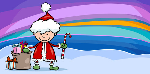 santa claus boy cartoon greeting card