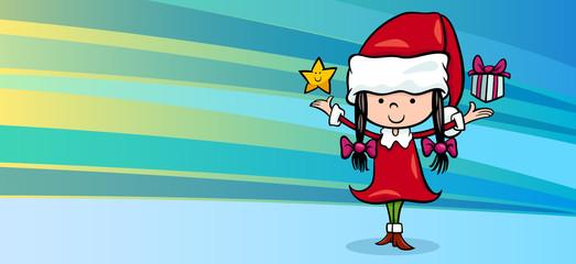 girl santa claus greeting card