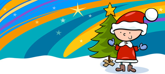 kid on christmas cartoon greeting card