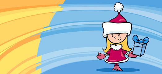 little girl santa greeting card cartoon