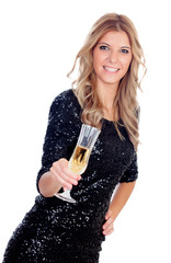 Attractive blonde woman wearing black sequins toasting with cham