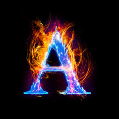 Fire and ice text,capital letter,alphabet-A