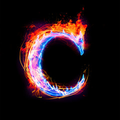 fire and ice text,capital letter,alphabet-C