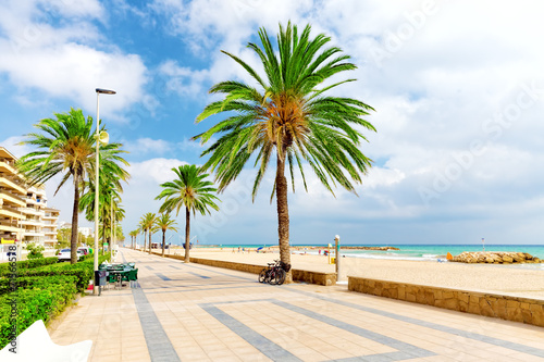 Seafront, beach,coast in Spain. Suburb of Barcelona, Catalonia - 71566578