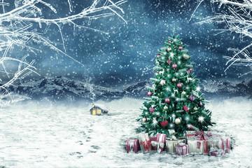Weihnachtsbaum mit Geschenken im Tal