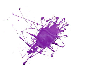 Splash of purple paint isolated on white