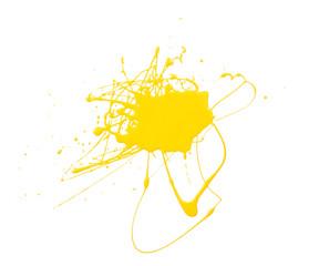 Splash of yellow paint isolated on white