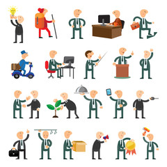 Business peoples set of icons flat design