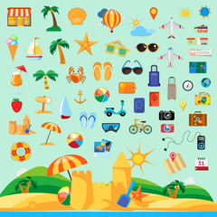 Beach holiday, icon set flat design