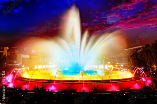 Foto op Plexiglas Fontaine The famous Montjuic Fountain in Barcelona.Spain.