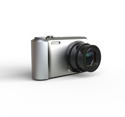 Small silver camera on white background - rotated
