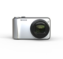 Small silver camera on white background - front view