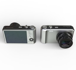 Small silver cameras on white background - front and back view