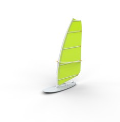 Windsurf board - green sail