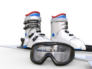 Ski boots and ski goggles on white background