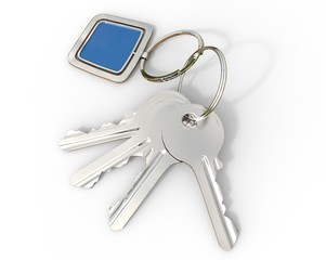 Keys with blue pendant on white background