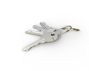 Keys on a keyring on white background
