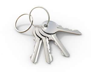Set of keys on a key-ring on white background