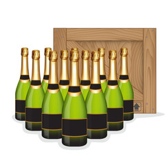 Bottles of Champagne in rows and Wooden box