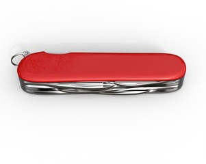 Red swiss army knife closed - top view