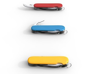 Red, blue, and yellow swiss army knifes