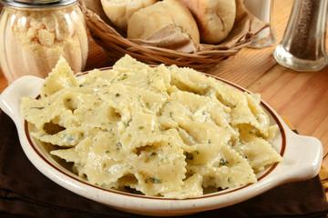 Farfalle pasta with creamy basil pesto
