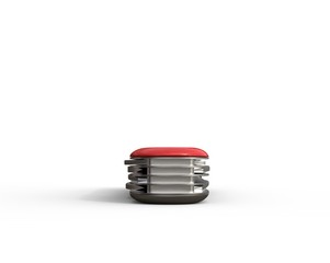 Red swiss army knife - back view on white background